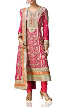 Fuchsia embroidered suit Featuring a fuchsia kurta in silk crepe with embroidery, paired with a matching churidaar. It comes along with a matching embroidered dupatta. Pakistani Dress Design, Pakistani Dresses, Ritu Kumar Suits, Designer Anarkali, Anarkali Suits, Silk Crepe, Designer Dresses, Indian, Pretty