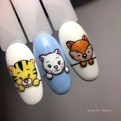 Cartoon Nail Designs, Nail Art Designs Videos, Pop Art Nails, Unicorn Nails Designs, Palm Nails, Nail Drawing, Animal Nail Art, Nail Art Techniques, Geometric Nail Art