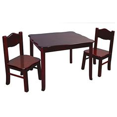 Kids Table and Chairs Child Size Dining Set with Chairs in Rich Espresso Finish * Read more  at the image link.