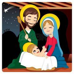Jos� y Mar�a alegre con beb� Jes�s riendo y tres reyes sabios en el horizonte despu�s de la estrella de Bel�n photo