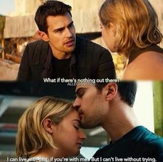 The feels and that Fourtris forehead kiss. Divergent Hunger Games, Divergent Fandom, Divergent Trilogy, Divergent Quotes, Divergent Insurgent Allegiant, Insurgent Quotes, Divergent Dauntless, Tfios, Theo James