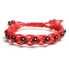 Natural Garnet Hand-woven Bracelet with Red Rope