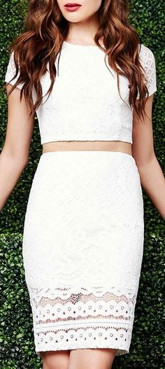 Best of New: Graceful Dancer Ivory Lace Two-Piece Dress