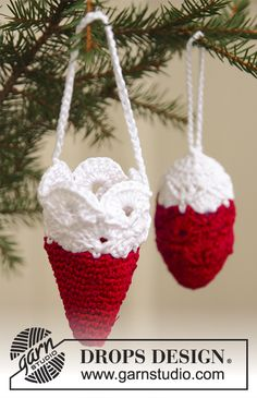 """DROPS Extra 0-576 - Crochet DROPS Christmas cone and Christmas cornet in """"Cotton Viscose"""" and """"Glitter"""". - Free pattern by DROPS Design"""