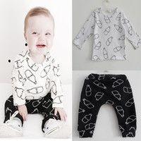 Wholesale 2016 Newest Baby Boys Clothes Clothing Set Little Milk Bottle T shirt Pants Children Set Suit Two Pieces Kids Boys Clothes