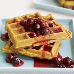 Host a cozy weekend brunch! We're fans of these seasonal Pumpkin Waffles with Cranberry Honey. http://www.parents.com/recipes/holidays/christmas/christmas-morning-breakfasts/?socsrc=pmmpin110912wwfPumpkinWaffles#page=6