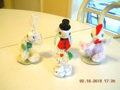 4 Vintage Mid Century Pipe Cleaner Easter Chicks Rabbit Decorations 1950'S | eBay