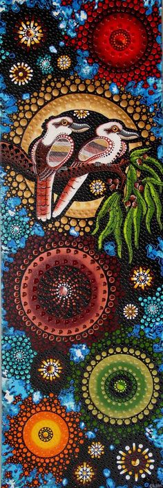 Chernee Sutton - Kookaburra sits in the old gum tree, eatin' all the gumdrops he can see - laugh Kookaburra laugh Kookaburra, save some drops for me. Indigenous Australian Art, Indigenous Art, Aboriginal Art Australian, Kunst Der Aborigines, Aboriginal Dot Painting, Native Art, Tribal Art, Mandala Art, Bird Art