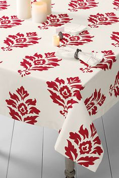 """90"""" Damask Holiday Tablecloth from Lands' End I want this for the Holidays"""