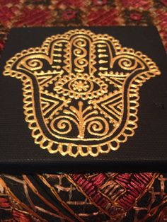 Henna design hamsa on mini canvas. Gold acrylic.  By Henna on Hudson