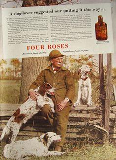 1936 Four Roses Whiskey Ad ~ English Setter, Springer Spaniel