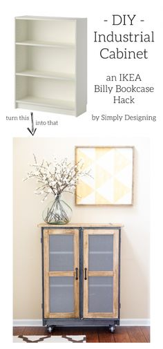 IKEA Billy Bookcase Hack into a beautiful Industrial Cabinet by Simply Designing                                                                               Más