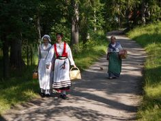 Seurasaari Island, near Helsinki. Full of Finns in their native garb and lots of old Finnish sod houses. Squirrels and ducks would follow us EVERYWHERE. (Note the squirrel behind the woman on the path in the picture!)
