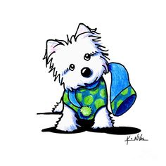 Winter Westie With Lime Drawing