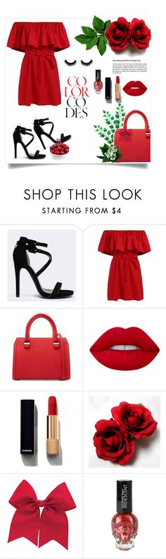 """Red-black :)"" by irmica-831 ❤ liked on Polyvore featuring Qupid, Victoria Beckham, Lime Crime, Chanel, black, red and fashionset"