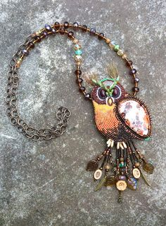 Spirit Guide Owl  Bead Embroidery Gemstone by HollyBeanDesign