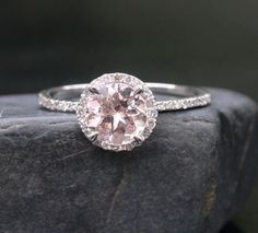 14k White Gold 7mm Morganite Round and Diamonds by Twoperidotbirds, $699.00
