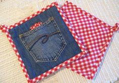 Denim & Red Gingham Hot Pads Set of Two by GrannysRecycledRags Jean Crafts, Denim Crafts, Sewing Hacks, Sewing Crafts, Sewing Projects, Artisanats Denim, Sewing Jeans, Quilted Potholders, Denim Ideas