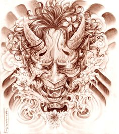 Geisha and Hannya Tattoo Design by on DeviantArt Oni Tattoo, Hannya Maske Tattoo, Raijin Tattoo, Hanya Tattoo, Demon Tattoo, Samurai Tattoo, Tattoo Sketches, Tattoo Drawings, Body Art Tattoos