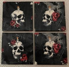 Tile Coaster Set-Skull Head And Red Rose-Decoupaged Macabre