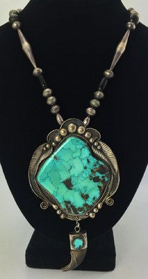 Turquoise Necklaces - Navajo Turquoise, Bear Claw and Silver Pendant with Silver Beaded Chain Navajo Jewelry, Bohemian Jewelry, Southwest Jewelry, Western Jewelry, Turquoise Pendant, Turquoise Jewelry, Turquoise Art, Vintage Turquoise, Jewelry Necklaces