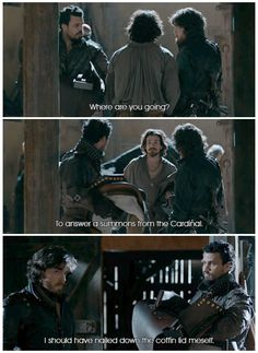 The Musketeers - 2x01 - Keep Your Friends Close; You see this sass is why I love Porthos! It's almost as good as his line in 1x07 about 'adding Satan to the list of suspects' in the poisoning of the Cardinal... <3