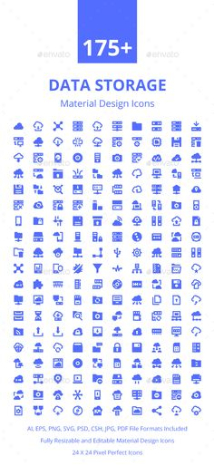 175+ Data Storage Material Icons. Download here: https://graphicriver.net/item/175-data-storage-material-icons/17672412?ref=ksioks