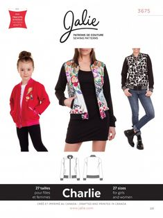 Be stylish in a jacket that has been around for almost 70 years. The Charlie Bomber Jacket Pattern will guide you through the steps to create this iconic jacket. Jalie's Charlie Bomber Jacket Pattern includes 27 different sizes for kids and adults. Patterned Bomber Jacket, Cargo Jacket, Leather Jacket, Techniques Couture, Easy Sewing Patterns, Sewing Ideas, Pattern Sewing, Pdf Patterns, Sewing Projects