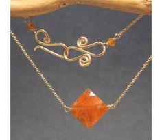 Orange Carnelian Diamond Necklace