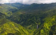 Kauai Hawaii Aerial view of Manawaiopuna Fall