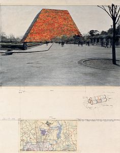 "Christo One Million Stacked Oil Drums (Project for Houston-Galveston Area Texas) Collage 1970 28 x 22"" (71 x 56 cm) Pencil, photograph by Harry Shunk, wax crayon, charcoal, map and tape Photo: Harry Shunk © 1970 Christo"