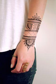 Henna inspired temporary tattoo / henna temporary tattoo / bohemian temporary tattoo / bohemian gift / festival temporary tattoo / boho gift by Tattoorary on Etsy https://www.etsy.com/listing/243141188/henna-inspired-temporary-tattoo-henna