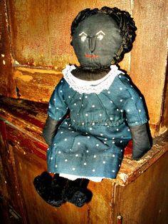 Antique Primitive 1920's Handmade Black Cloth Rag Doll Indigo Blue Dress