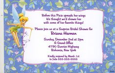 Visit the post for more. Baby Shower Invitation Templates, Bridal Shower Invitations, Party Invitations, Disney Invitations, Peter Pan And Tinkerbell, Tinkerbell Party, Baby Disney, Floral, Wedding