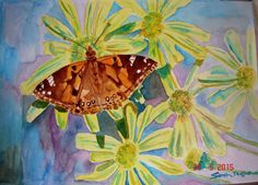 Butterfly Watercolour Painting 'Painted Lady On by RomanceandRoses