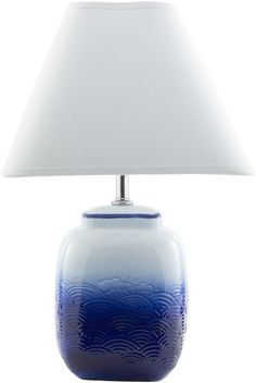 "Evoking the feel of a dream vacation trip to a remote Greek Isle, we are crazy about these new dark blue and white ""wave"" lamps! Azul Dark Blue Waves Table Lamp"
