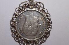 1869 Belgium 5 Francs LEOPOLD II ROI DES BELGES Silver 900 With Bezel Pendant