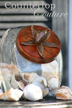 Rustic & Beachy Chic  Style Jar by CountertopCouture on Etsy, $48.00