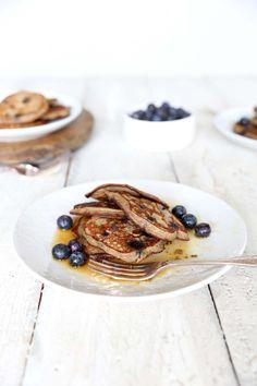 Banana & blueberry buckwheat pancakes by www.swoonfood.com