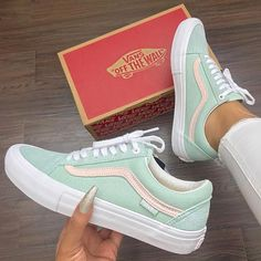 Follow my Pinterest 💋✨ @aquabellejm  Now that's a new colour way  Yay or Nay? @animaltracks_de  #whatsurgirlwearing Mint Vans, Mint Green Vans, Teal Vans, Mint Shoes, Red Shoes, Vans Shoes For Girls, Cool Vans Shoes, Vans Sneakers, Cute Shoes