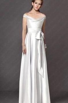 Argente Robe Pour Mariage Longue Avec Ceinture Elegante RPV0071