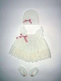 Baptism newborn girl crochet set :)