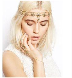 Pearl Crystal Gold Head Chain Jewellery Headband Head Piece Hair Band Bridal UK