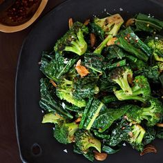 In this easy vegetable side dish, broccoli and kale are drizzled with a butter, garlic and crushed red pepper sauce. Serve this healthy recipe alongside roasted chicken, turkey or ham--or on top of your favorite whole grain, such as quinoa or farro.