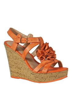 Look what I found on #zulily! Orange Floral Embellished Leather Platform Sandal by Bruno Menegatti #zulilyfinds