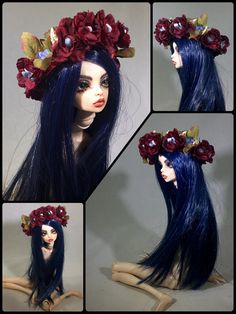 Sale is for headpiece/crown only ~ doll, clothes, and props are not included  This lovely adjustable BJD flower crown or coronet for larger dolls, is embellished with garnets, aquamarine, gp gold & brass leaves, opalite, red silk roses, 14k gold leaf, & silk ribbon. It will fit directly on