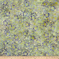 Kaufman Artisan Batiks Asian Legacy Floral Swirl Spring - this batik fabric has beautiful colorations and is perfect for quilts, craft projects, home decor accents and apparel. Colors include shades of purple and green.