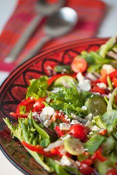 Greek Salad with Tomatoes, Cucumbers, Feta and Mint