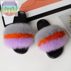 New Fashionable Female Winter Fox hair cotton slippers female indoor and outdoor warm cotton slippers plush slippers plush slipp – slipper&sandal wholesale Ugg Sandals, Slipper Sandals, Fur Slides, Fit S, Fox Fur, Little Gifts, Fashion Shoes, Plush, Slippers