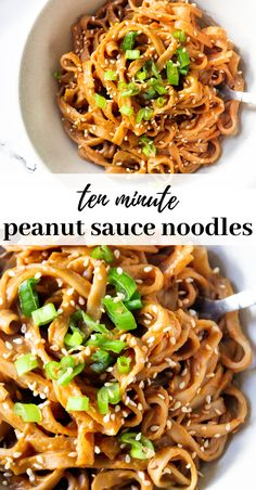 Sweet and spicy peanut sauce rice noodles ready in less than 10 minutes making it perfect for a quick dinner or lunch recipe. Vegan, gluten free and so healthy and yummy! Plats Healthy, Tasty Vegetarian Recipes, Healthy Noodle Recipes, Vegetarian Cooking, Vegetarian Rice Noodle Recipes, Vegetarian Asian Recipes, Healthy Recipes For Kids, Simple Vegetarian Recipes, Gluten Free Vegan Recipes Dinner